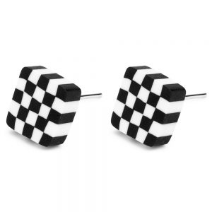 Stud Earring Checkers Illusion Made With Tin Alloy & Fimo by JOE COOL