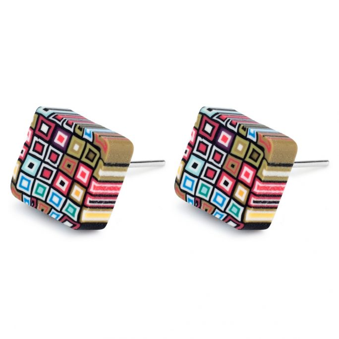 Stud Earring Multi Square Made With Tin Alloy & Fimo by JOE COOL