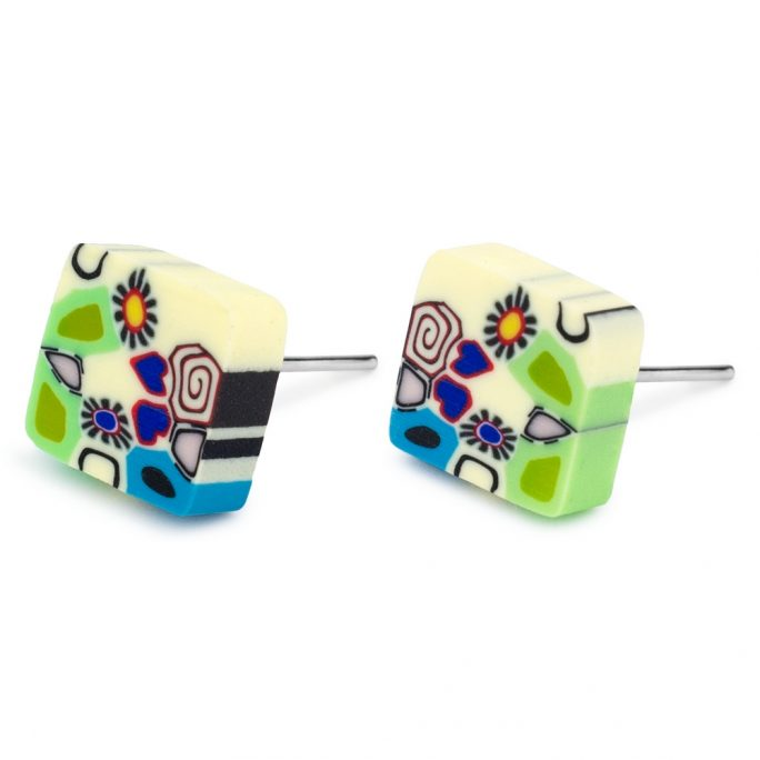 Stud Earring Art Garden Square Made With Tin Alloy & Fimo by JOE COOL
