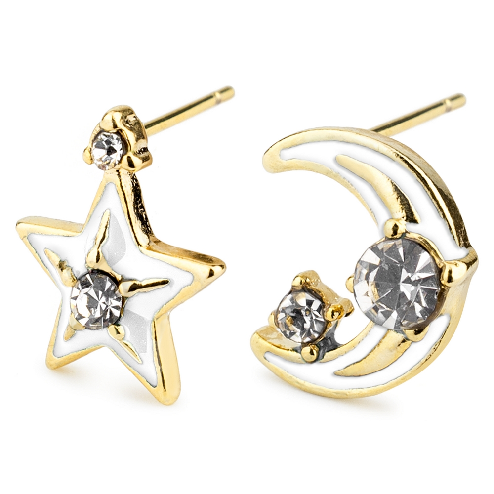 Stud Earring Moon And Star Made With Tin Alloy & Cubic Zirconium by JOE COOL