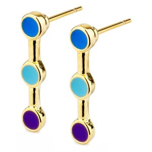 Stud Earring Three Spot Made With Tin Alloy & Enamel by JOE COOL