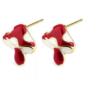 Stud Earring Toadstool Made With Tin Alloy & Enamel by JOE COOL