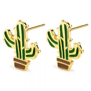 Stud Earring Cactus Made With Tin Alloy & Enamel by JOE COOL