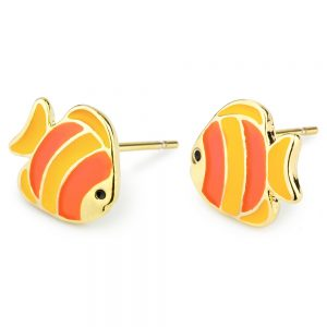Stud Earring Clown Fish Made With Tin Alloy & Enamel by JOE COOL