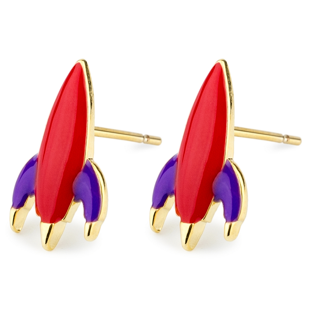 Stud Earring Rocket Made With Tin Alloy & Enamel by JOE COOL
