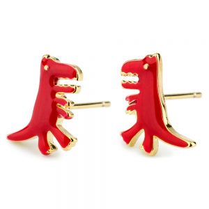 Stud Earring T-rex Made With Tin Alloy & Enamel by JOE COOL