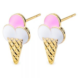 Stud Earring Ice Made With Tin Alloy & Enamel by JOE COOL