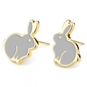Stud Earring Rabbit Made With Tin Alloy & Enamel by JOE COOL