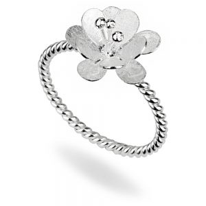 Ring Twist Many Petal Flower Made With 925 Silver by JOE COOL