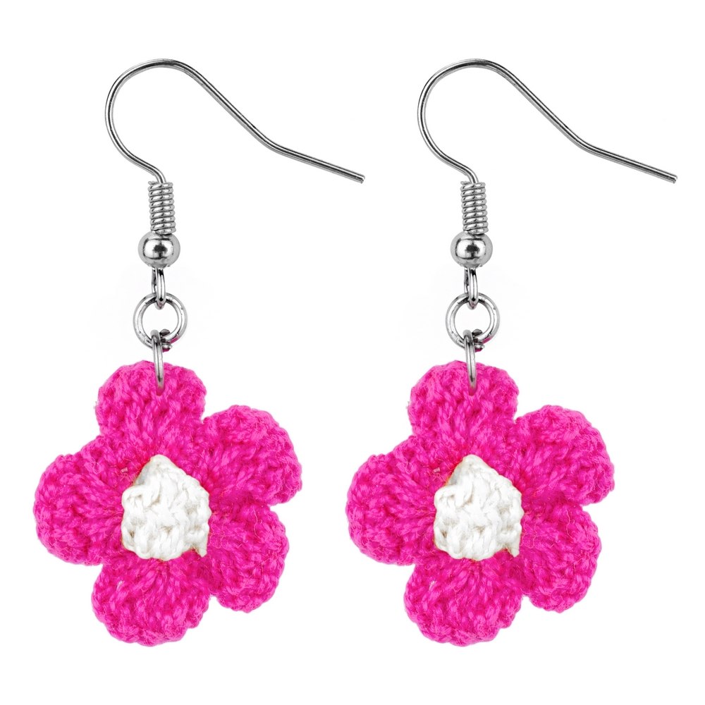 Drop Earring Crochet Flower Made With Cotton by JOE COOL