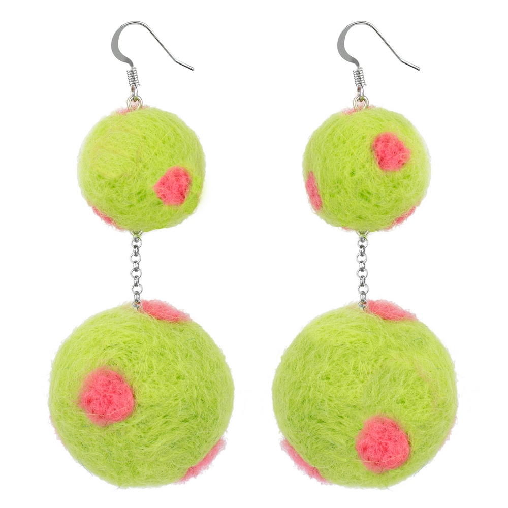 Drop Earring Polka Pompom Double Made With Felt by JOE COOL