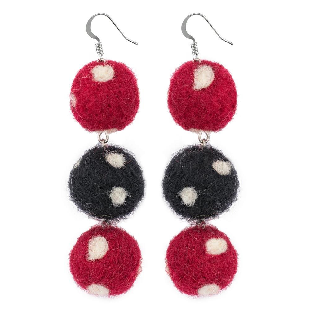 Drop Earring Triple Pompom Self Coloured Made With Cotton by JOE COOL