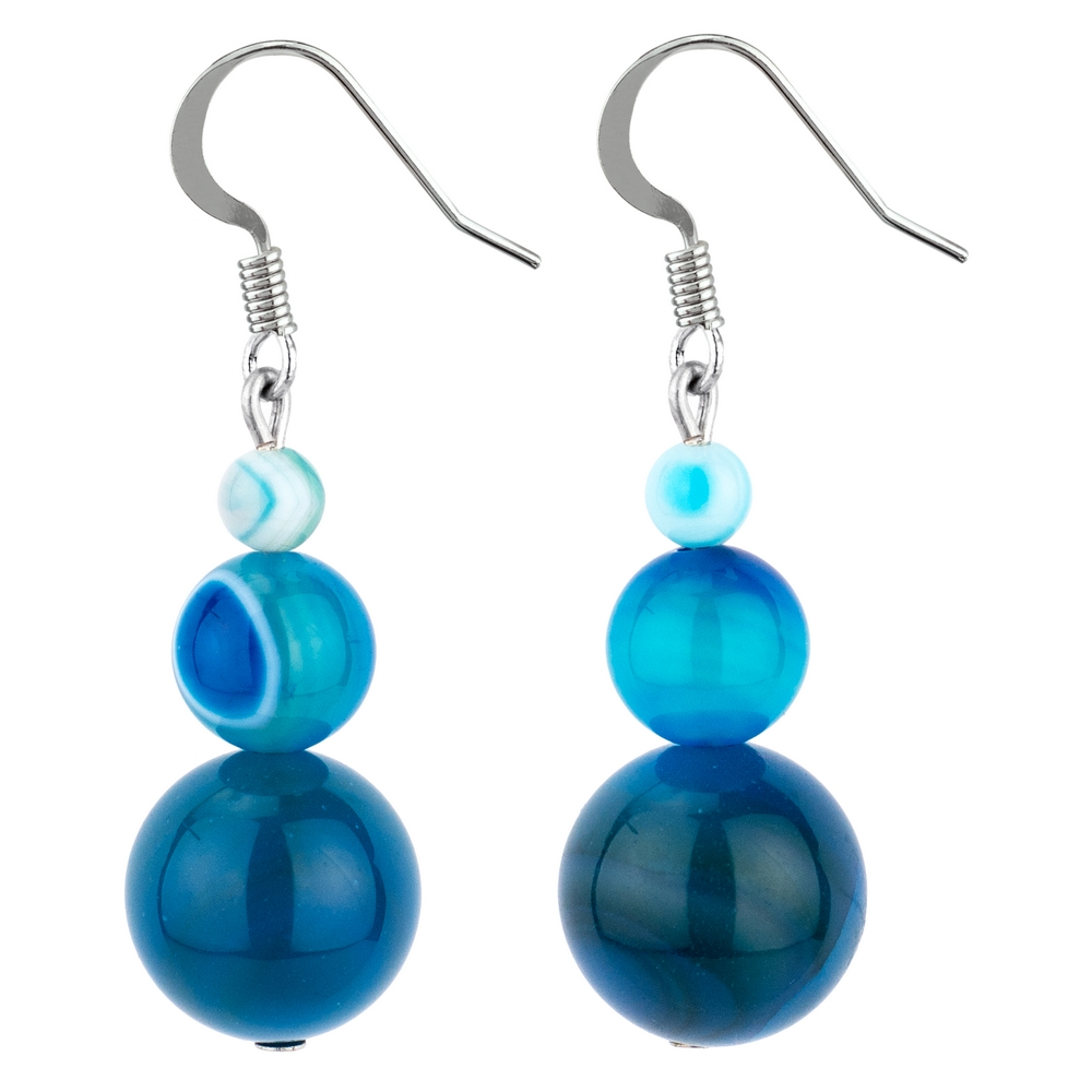 Drop Earring Ocean Treble Marbles Made With Agate by JOE COOL