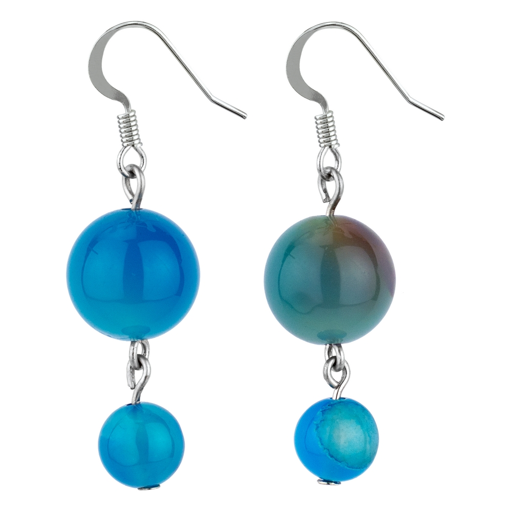 Drop Earring Ocean Double Marbles Made With Agate by JOE COOL