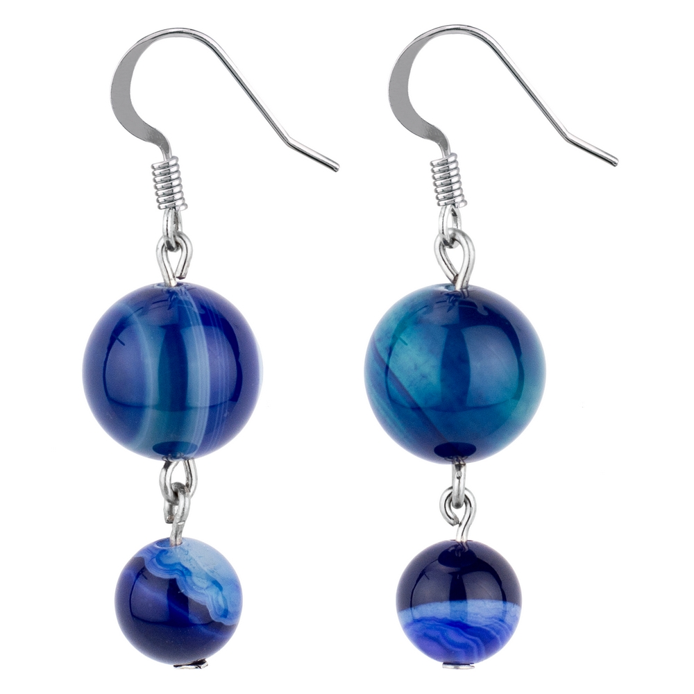 Drop Earring Night Sky Double Marbles Made With Agate by JOE COOL