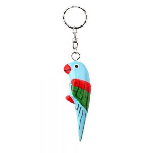 Keyring Hand Carved & Painted Parrot Made With Wood by JOE COOL