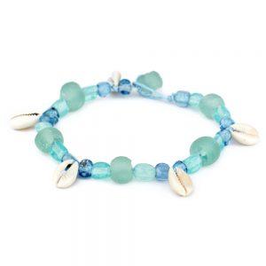 Bracelet & Sea Glass Made With Cowrie Shell by JOE COOL
