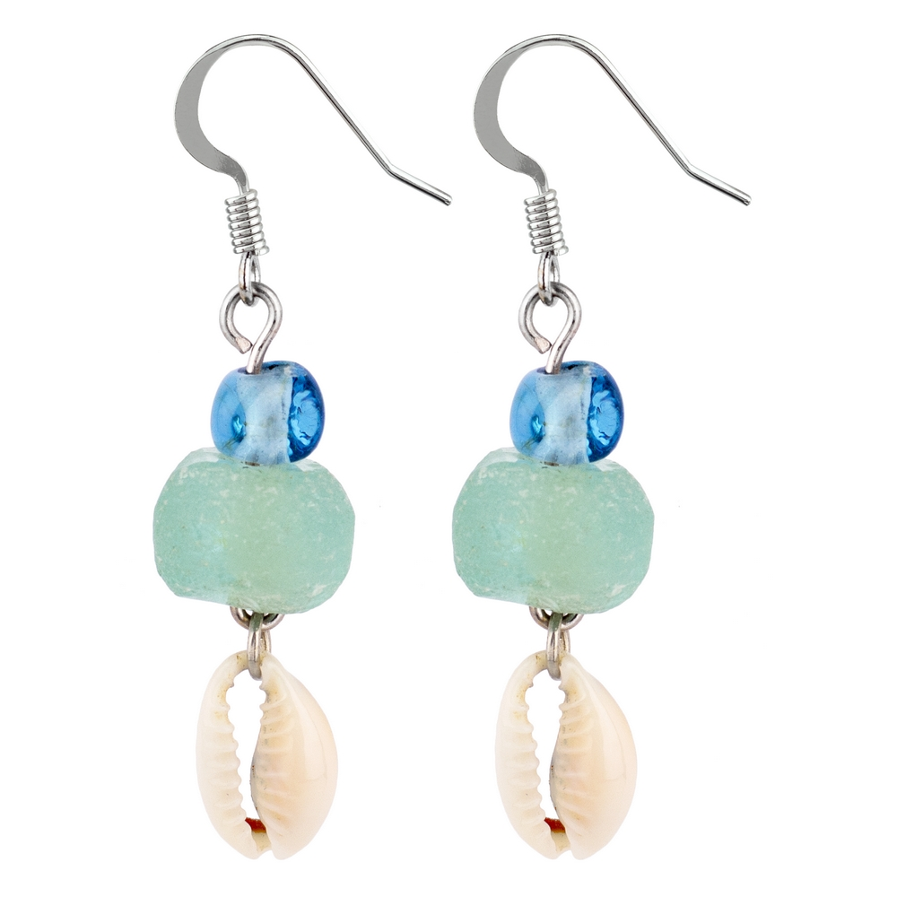 Drop Earring & Sea Glass Made With Cowrie Shell by JOE COOL