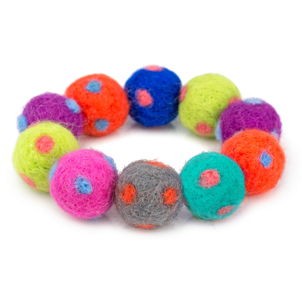 Bracelet Polka Pompom Made With Felt by JOE COOL