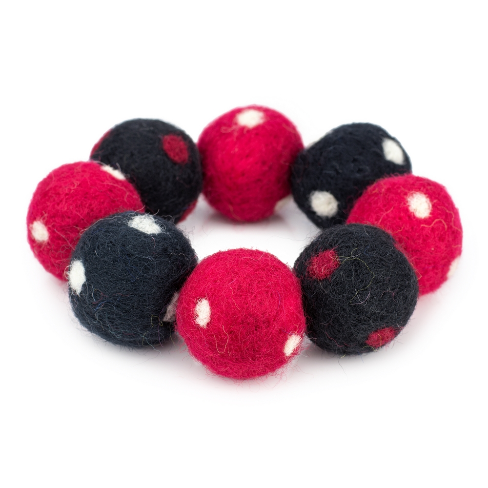 Bracelet Polka Pompom Wide Made With Felt by JOE COOL