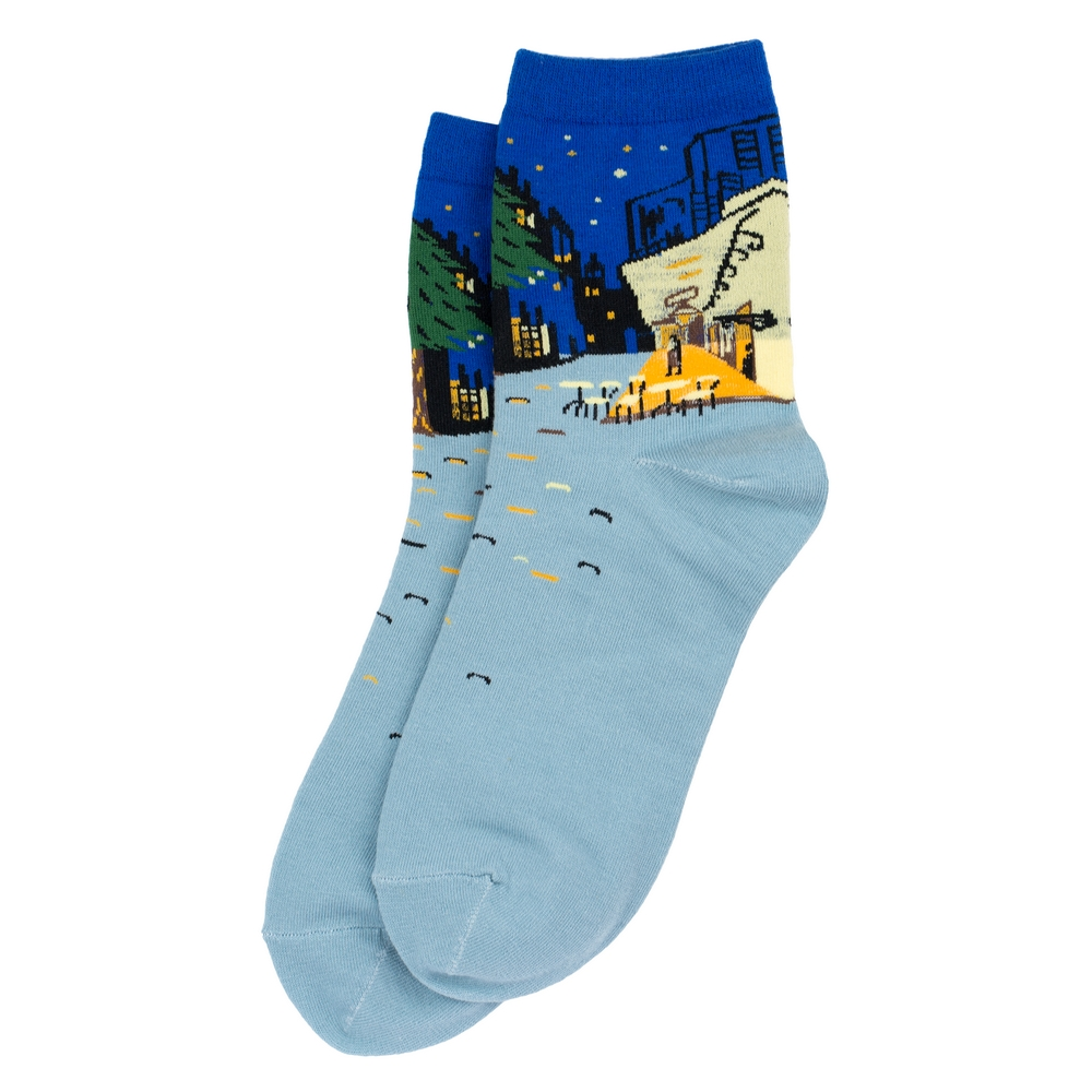 Socks Van Gogh Café Terrace Made With Cotton & Spandex by JOE COOL