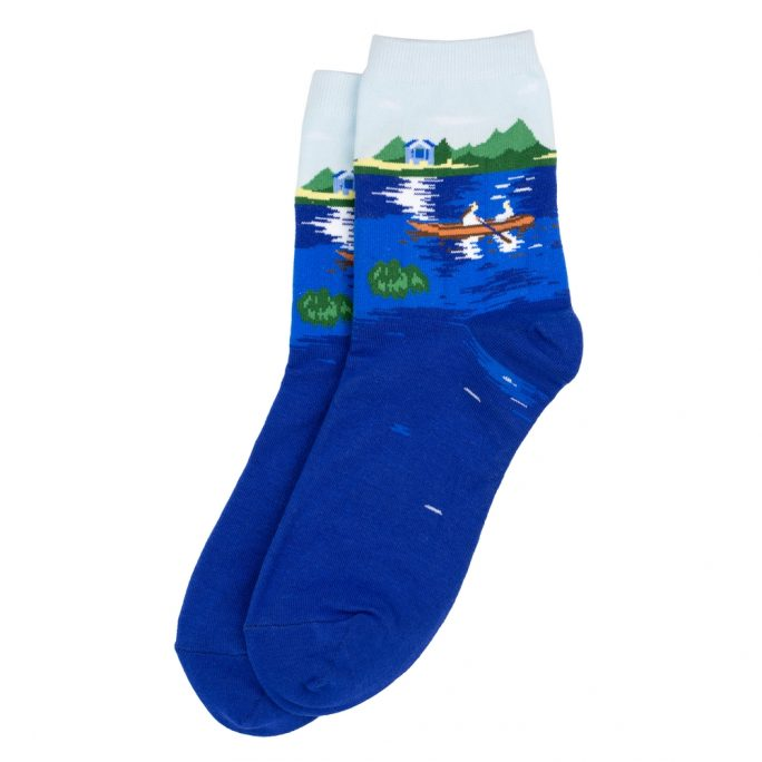 Socks Renoir Boating On The Seine Made With Cotton & Spandex by JOE COOL