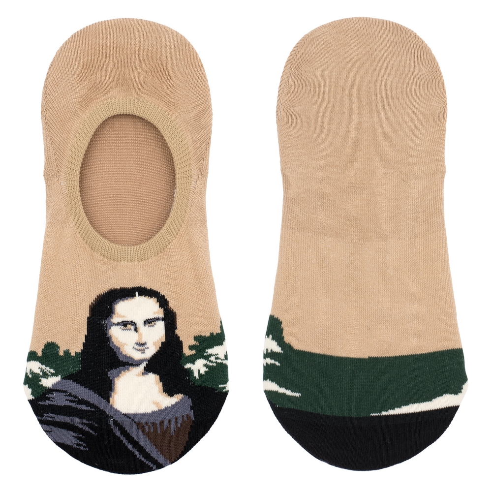 Socks No-show Da Vinci Mona Lisa Made With Cotton & Spandex by JOE COOL