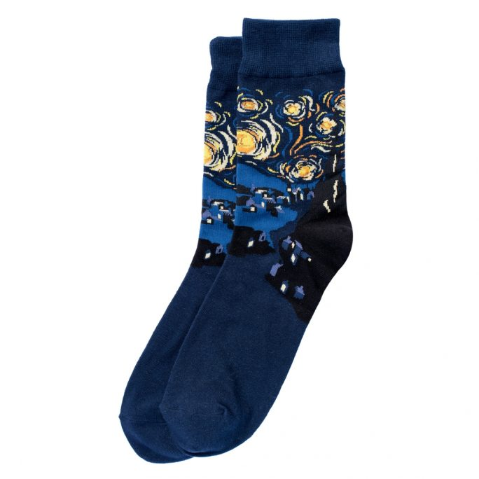 Socks Gents Van Gogh Starry Night Made With Cotton & Spandex by JOE COOL