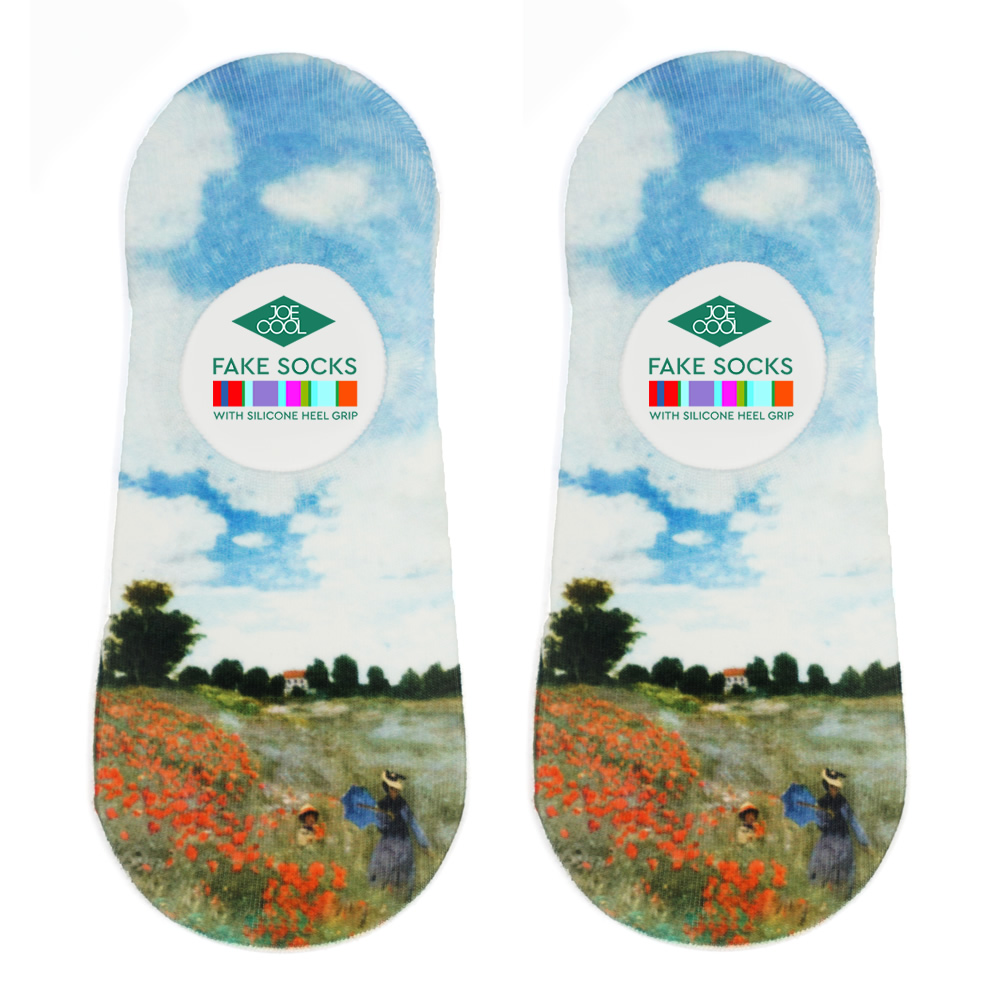 Socks No-show Monet Poppies Made With Nylon & Polyester by JOE COOL