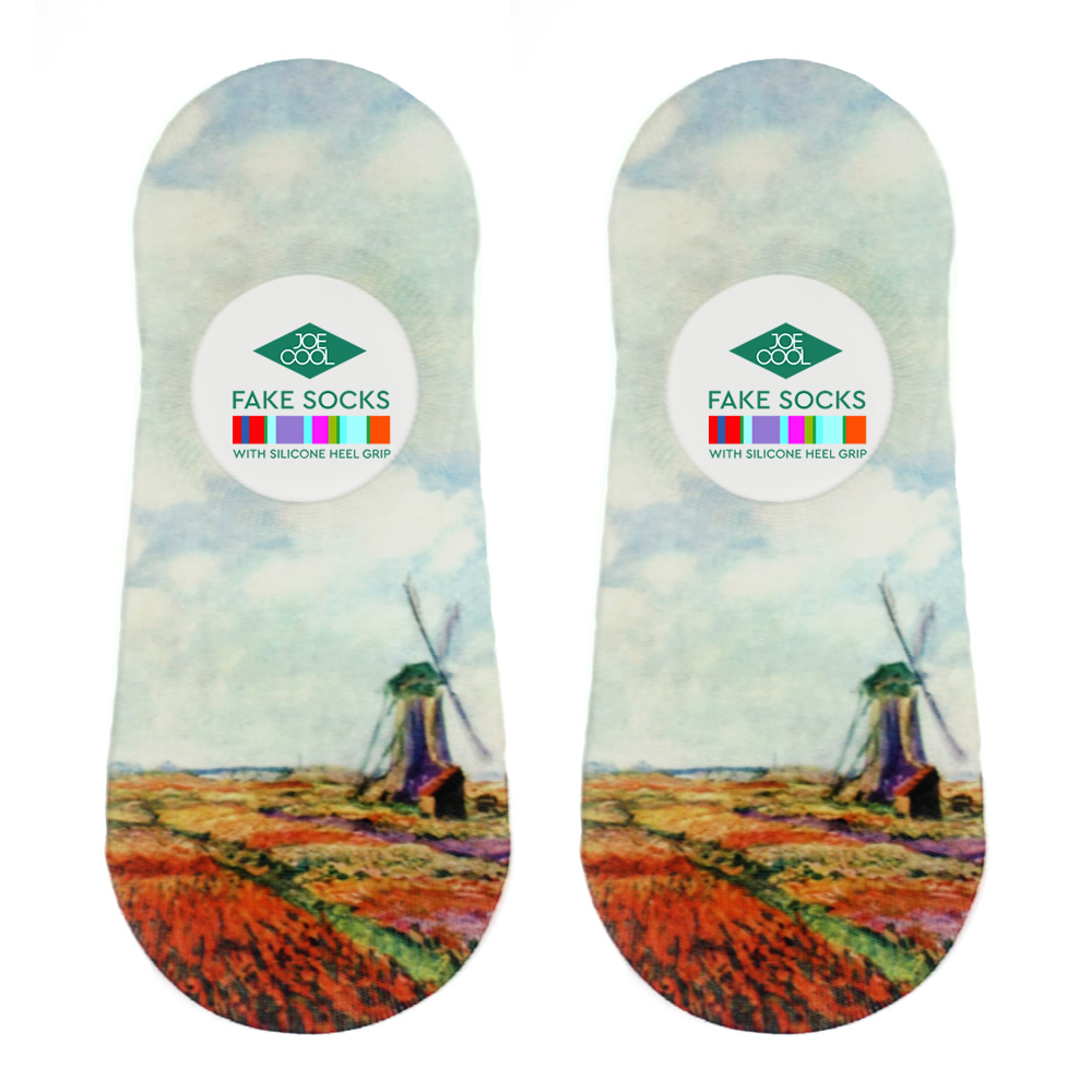 Socks No-show Monet Tulip Fields With Windmill Made With Nylon & Polyester by JOE COOL