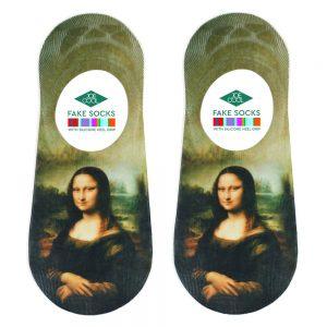 Socks No-show Da Vinci Mona Lisa Made With Nylon & Polyester by JOE COOL