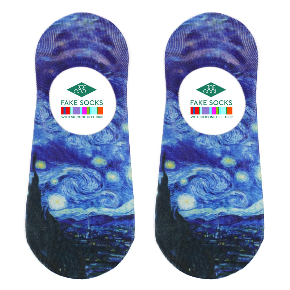 Socks No-show Van Gogh Starry Night Made With Nylon & Polyester by JOE COOL