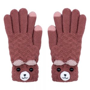 Gloves Touchscreen Peeping Bear Made With Acrylic by JOE COOL