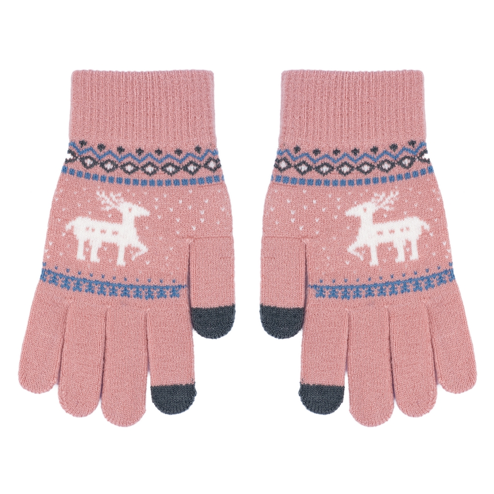 Gloves Touchscreen Scandi Deer Made With Acrylic by JOE COOL