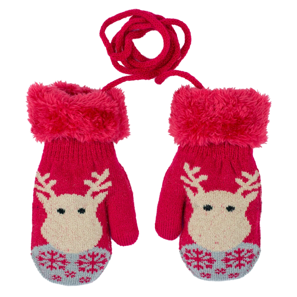 Gloves Kids Reindeer Mittens Made With Acrylic by JOE COOL