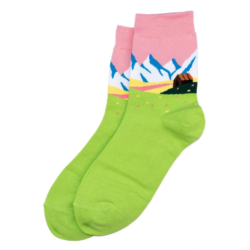 Socks Alpine Scene Made With Cotton & Spandex by JOE COOL