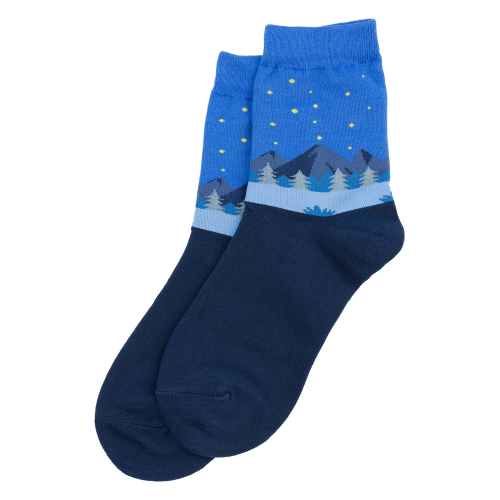 Socks Mountain Scene Made With Cotton & Spandex by JOE COOL