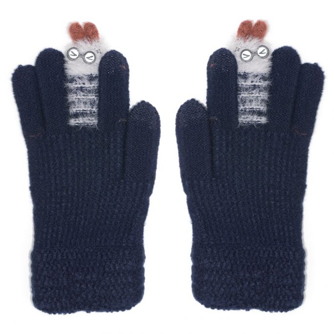 Gloves Touchscreen Fuzzy Finger Puppet Made With Acrylic by JOE COOL