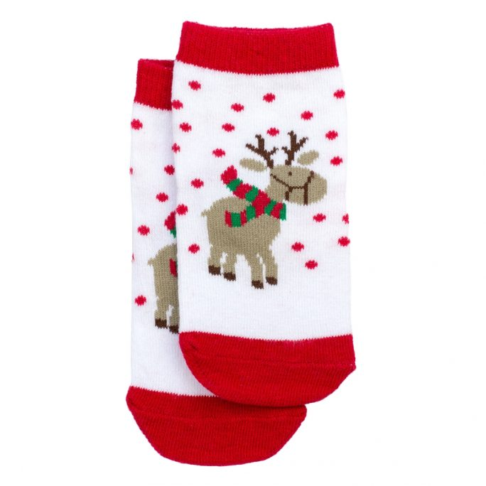 Socks Kids Reindeer 1-3 Years Made With Cotton & Spandex by JOE COOL