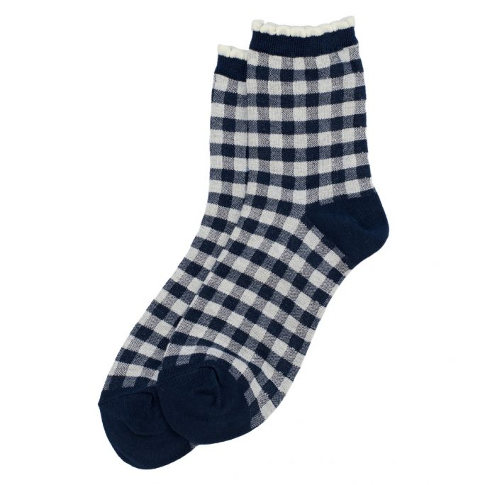 Socks Check Picot Made With Cotton & Spandex by JOE COOL