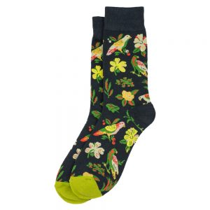 Socks Tropical Flowers & Love Birds Made With Cotton & Spandex by JOE COOL
