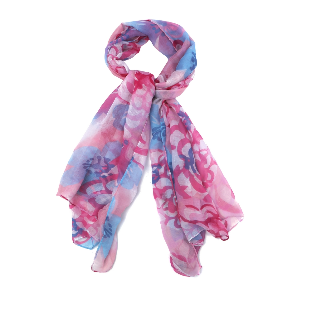 Scarf Ink Flower Print Made With Polyester by JOE COOL