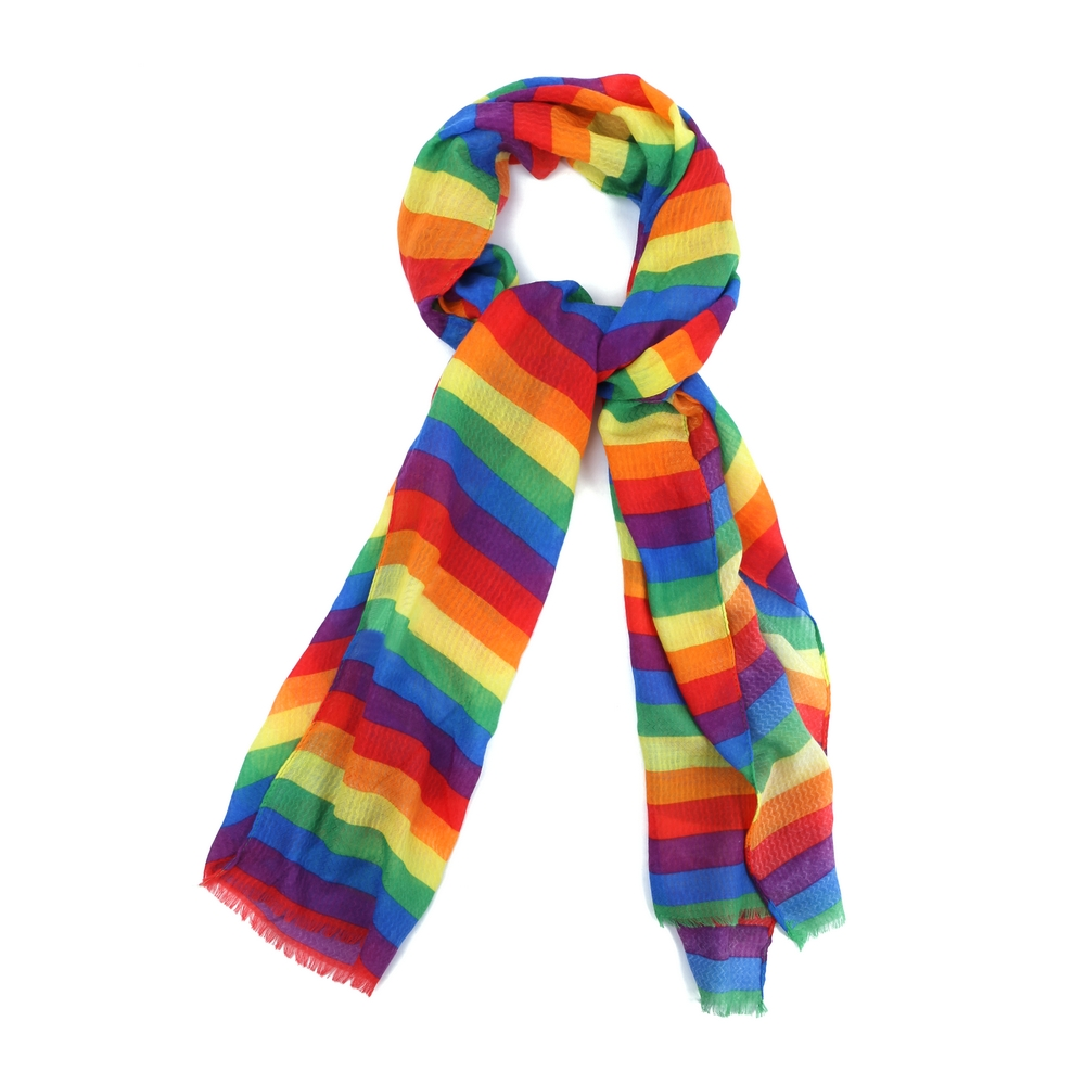 Scarf Rainbow Stripe Made With Polyester by JOE COOL