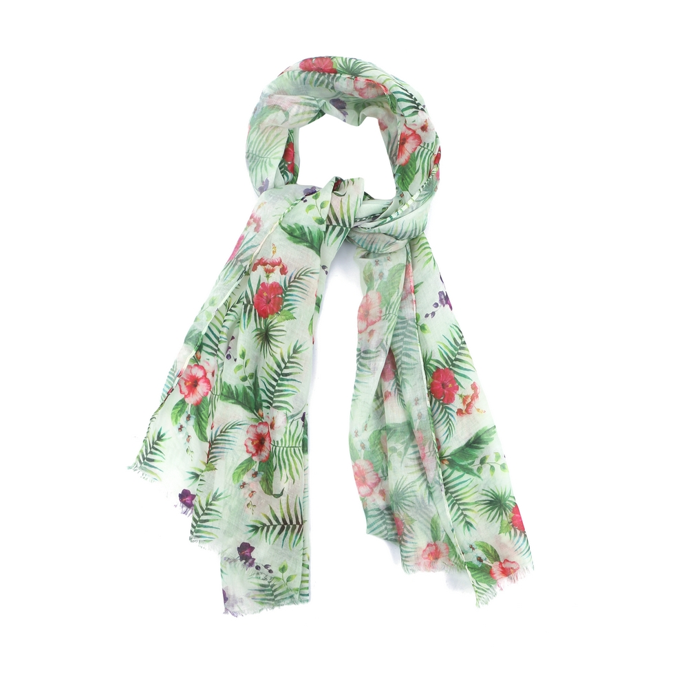 Scarf Tropical Hibiscus Flower Made With Polyester & Cotton by JOE COOL