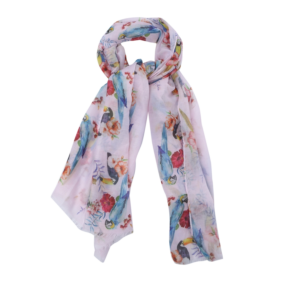 Scarf Tropical Birds Made With Polyester & Cotton by JOE COOL
