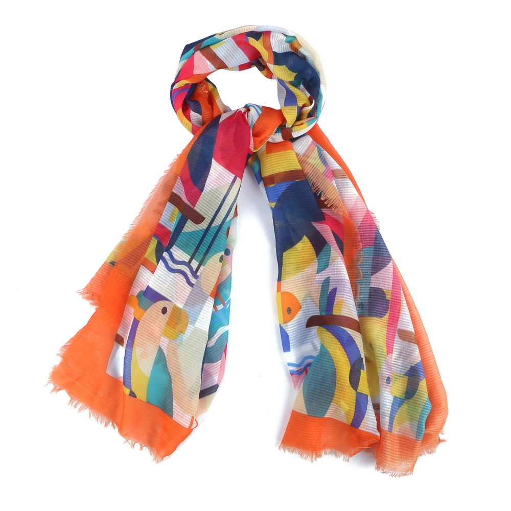 Scarf Bauhaus Bird Made With Polyester & Cotton by JOE COOL