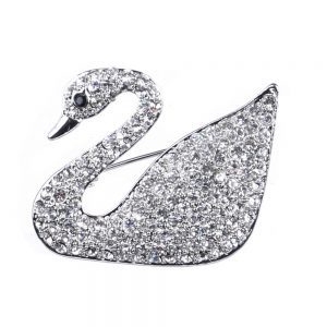 Brooch Swan Made With Crystal Glass & Tin Alloy by JOE COOL