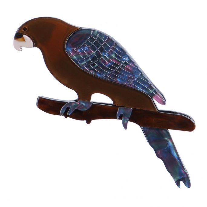 Brooch Parrot Pearlised Made With Acrylic by JOE COOL