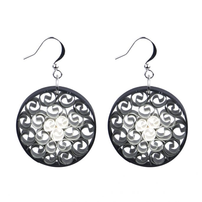 Drop Earring Ombre Quill Swirl Circle Made With Paper by JOE COOL