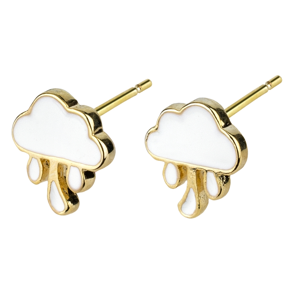 Stud Earring Rain Clouds Made With Enamel & Tin Alloy by JOE COOL